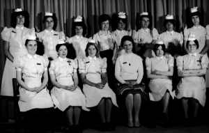 I'm top left, nursing student in 1978. Great colleagues, daft uniforms!